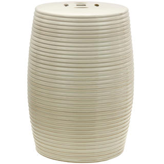 Handmade Beige Ribbed Porcelain Garden Stool (China)