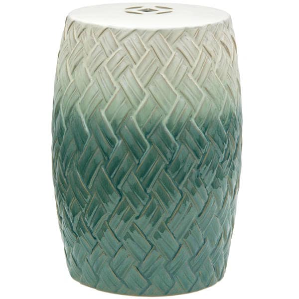 The Curated Nomad La Bica Handmade Carved Woven Design Porcelain Garden Stool (China)