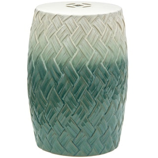 Handmade Carved Woven Design Porcelain Garden Stool (China)