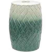 Havenside Home Lindhurst Handmade Carved Woven Design Porcelain Garden Stool (China)