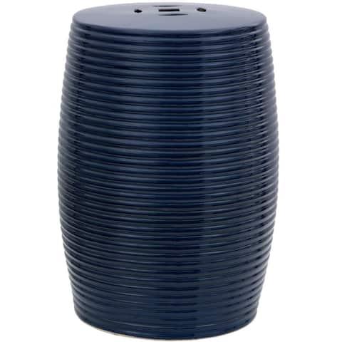 Handmade Dark Blue Ribbed Porcelain Garden Stool