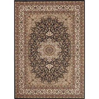 Medallion Traditional Black Rug (7'10 x 10'2)