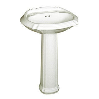 Fine Fixtures Ceramic Biscuit 8-inch Spread Pedestal Sink