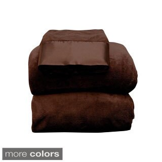 Amraupur Overseas Coral Fleece 3-piece Twin or Twin XL Sheet Set (Multi Colors Available) (5 options available)