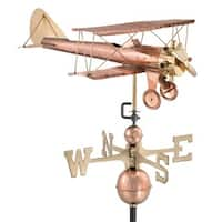Biplane Pure Copper Weathervane by Good Directions