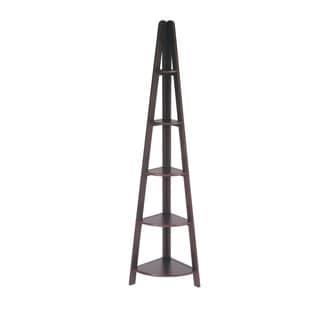 Espresso Corner Ladder Bookcase with Five Shelves