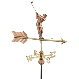Golfer Pure Copper Garden Weathervane with Garden Pole by Good Directions