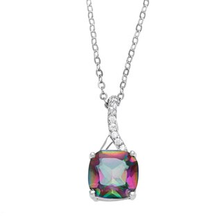 La Preciosa Sterling Silver Mystic Cubic Zirconia Pendant Necklace