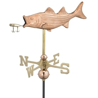 Good Directions Bass with Lure Copper Garden Weathervane