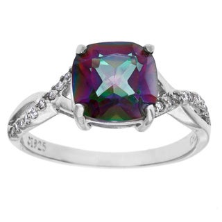 La Preciosa Sterling Silver Mystic Cubic Zirconia Ring