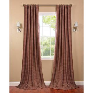 Exclusive Fabrics Red and Gold Hand-woven Cotton Curtain Panel
