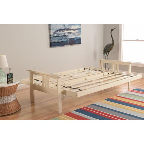 Porch & Den Dent Futon Frame in Antique White Wood (Mattress not included)