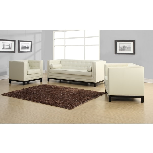 Zoe Cream Leather Chair Free Shipping Today Overstock
