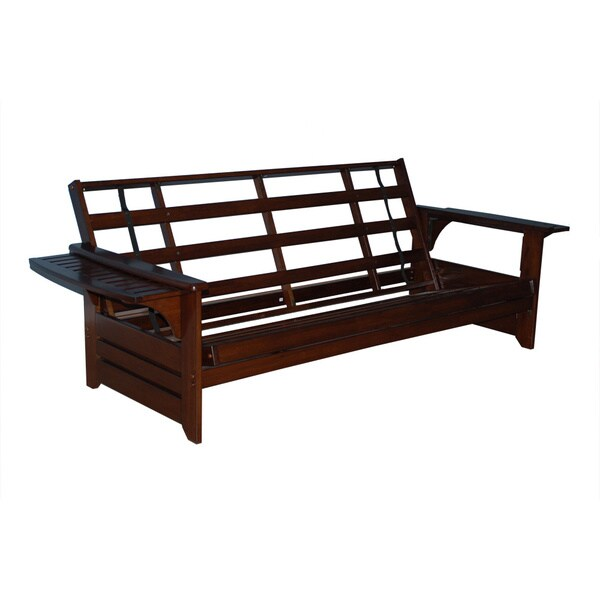 Somette ali phonics multi flex espresso full size wood for Wood futon frames free shipping