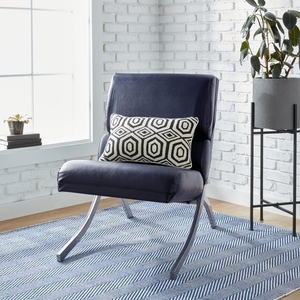 Superbe Clay Alder Home Rialto Navy Bonded Leather Chair