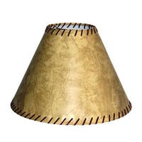 Crown Lighting Tan Faux Leather Lampshade with Rawhide Stitching