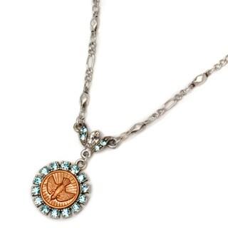 Sweet Romance Bird Holy Spirit Aqua Crystal Necklace