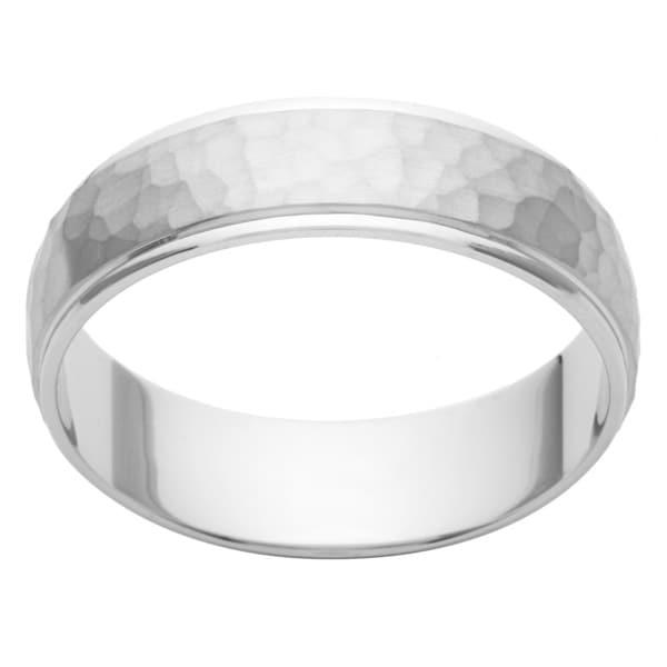 Cambridge Platinum 6mm Hammered Finish Menx27s Wedding Band