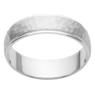 Cambridge Platinum 6mm Hammered Finish Men's Wedding Band