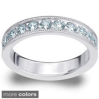 Amore 14K Gold 1ct TDW Milgrain Machine-Set Diamond Prong Wedding Band