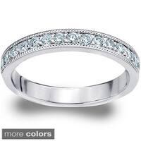 Amore 14K Gold 1/2ct TDW Milgrain Edge Machine-Set Diamond Prong Wedding Band