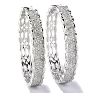Sterling Silver 1ct TDW White Diamond Pave Hoop Earrings