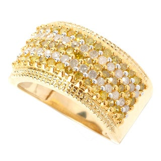 14k Yellow Gold 1ct TDW Yellow and White Diamond Multi-row Pave Ring