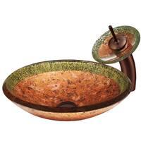 VIGO Janus Glass Vessel Sink and Waterfall Faucet Set in Oil Rubbed Bronze