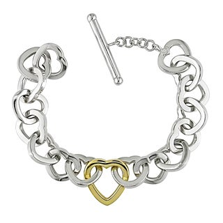 Miadora Signature Collection 14k Two-tone Gold Heart Link Bracelet