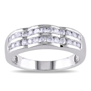 Miadora 14k White Gold 1/2ct TDW Double Row Diamond Ring