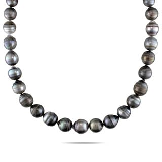 Miadora 14k White Gold Tahitian Black Pearl Necklace (9-12 mm)