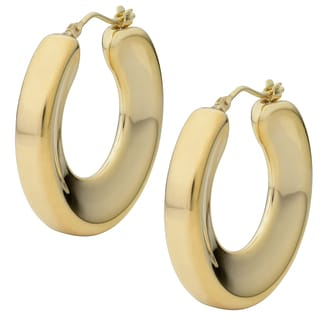 Oro Forte 14k Yellow Gold Concave Round Hoop Earrings