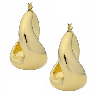 Oro Forte 14k Yellow Gold Polished Twist Design Hoop Earrings