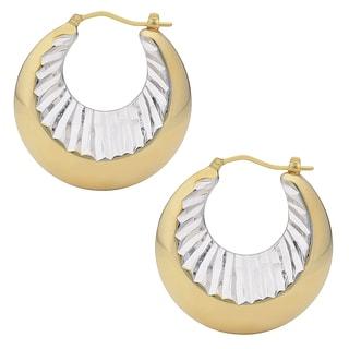 Oro Forte 14k Two-tone Gold Polished/Diamond-cut Graduated Earrings