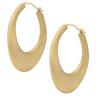 Oro Forte 14k Yellow Gold Bold Wavy Satin Hoop Earrings
