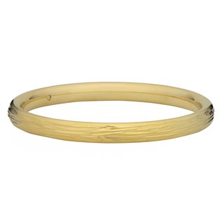 Oro Forte 14k Yellow Gold Diamond-cut Textured Round Bangle