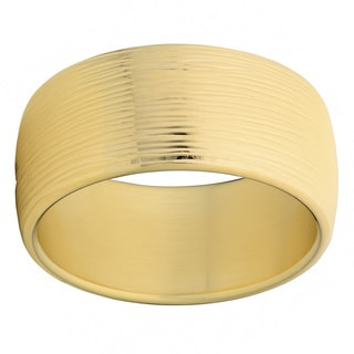Oro Forte 14k Yellow Gold Bold Textured Round Bangle Bracelet