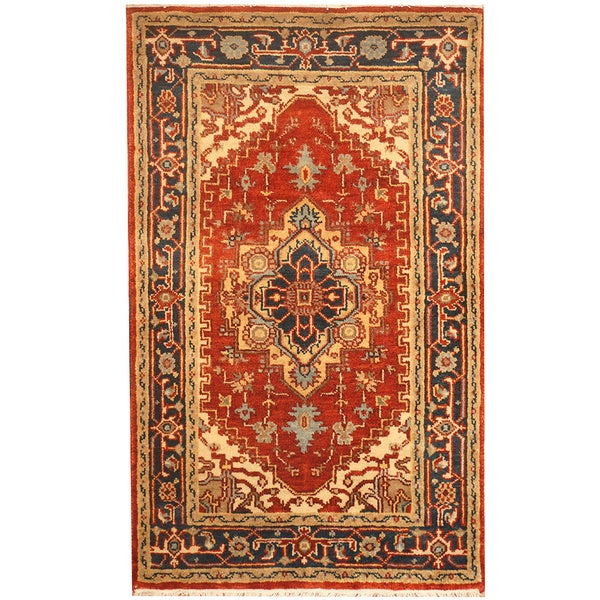 Handmade Heriz Wool Rug (India) - 3' x 5'