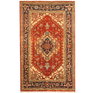 Herat Oriental Indo Hand-knotted Heriz Red/ Black Wool Rug (3' x 5')