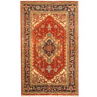Handmade Herat Oriental Indo Heriz Red/ Black Wool Rug  - 3' x 5' (India)
