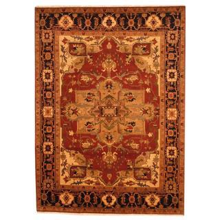 Herat Oriental Indo Hand-knotted Heriz Red/ Black Wool Rug (9' x 12')