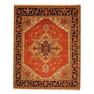 Herat Oriental Indo Hand-knotted Heriz Red/ Black Wool Rug (8' x 10')