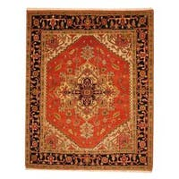 Handmade Herat Oriental Indo Heriz Red/ Black Wool Rug  - 8' x 10' (India)