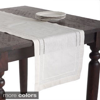 Embroidered/ Hemstitched Linen Blend Table Runner
