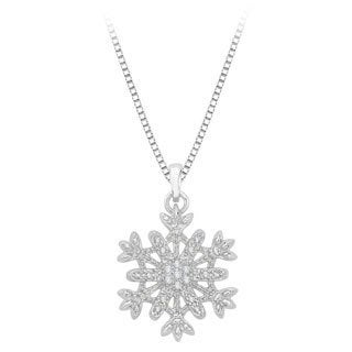 Sterling Silver 1/10ct Diamond Snowflake Pendant