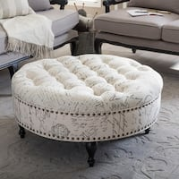 Palfrey Patterned Linen Modern Tufted Ottoman