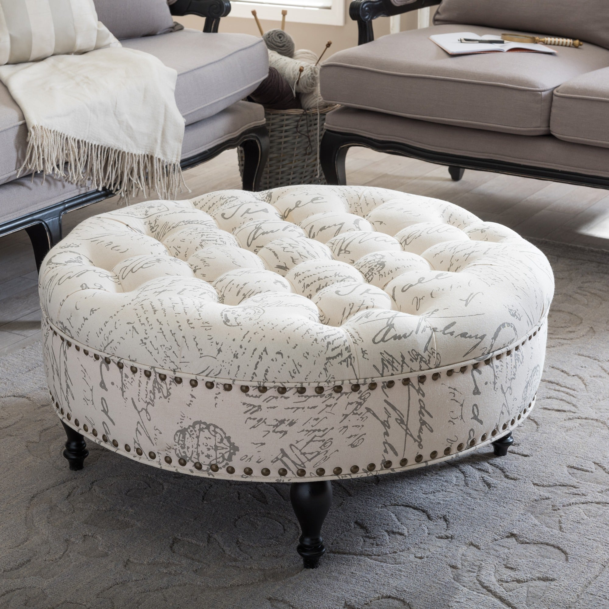 Astonishing Palfrey Patterned Linen Modern Tufted Ottoman Camellatalisay Diy Chair Ideas Camellatalisaycom