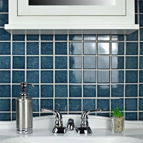 SomerTile 12x12-inch Paradise Coral Blue Porcelain Mosaic Floor and Wall Tile (10 tiles/10.21 sqft.)