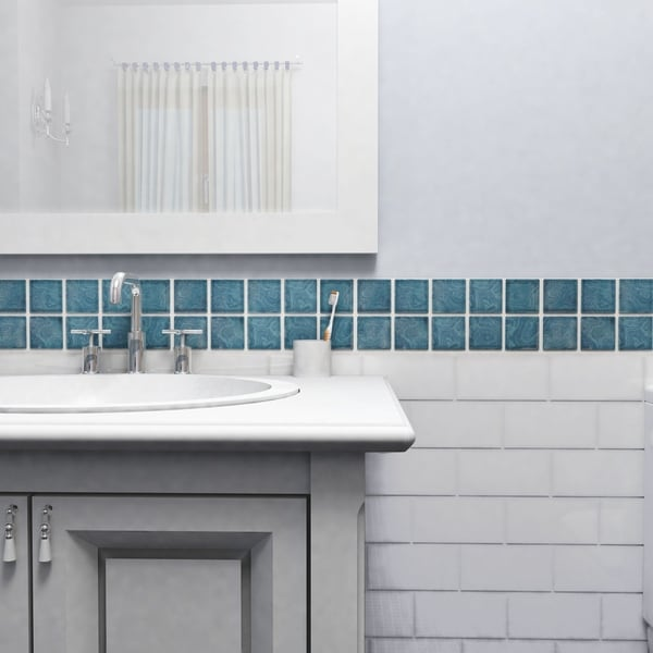 Somertile 12 x 12 inch paradise coral blue porcelain for 12 x 12 blue ceramic floor tile