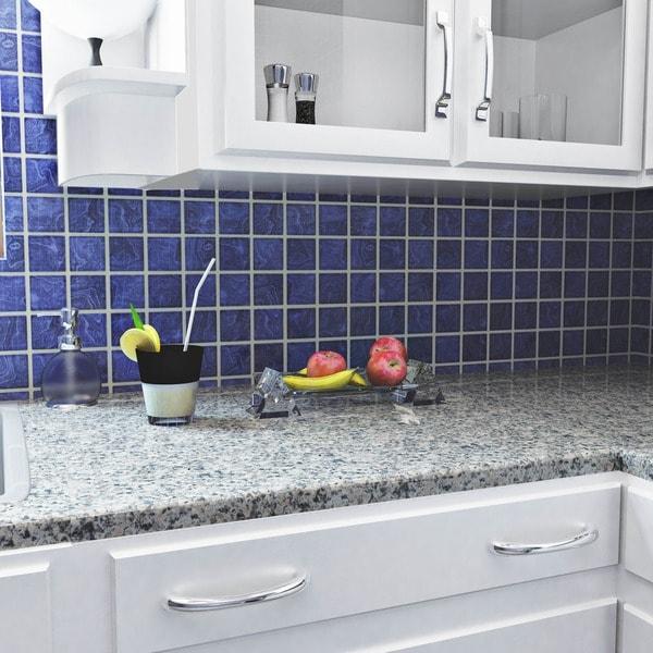 Somertile 12x12 inch paradise marine blue porcelain mosaic for 12 x 12 blue ceramic floor tile